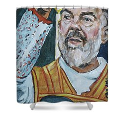 Padre Pio Shower Curtain by Bryan Bustard