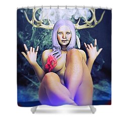 Shower Curtain featuring the painting Pagan Paradise by Baroquen Krafts
