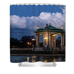 Pagoda At Sunset In Forest Park Shower Curtain by Garry McMichael