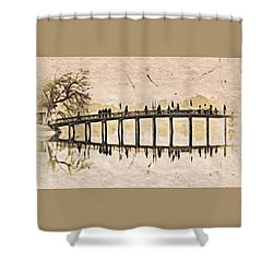 Pagoda Bridge Shower Curtain