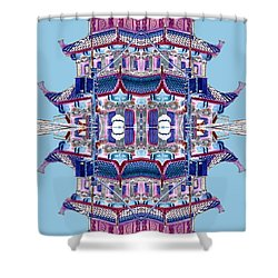 Shower Curtain featuring the photograph Pagoda Tower Becomes Chinese Lantern 2 Chinatown Chicago by Marianne Dow