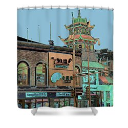 Shower Curtain featuring the photograph Pagoda Tower Chinatown Chicago by Marianne Dow