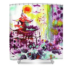 Shower Curtain featuring the painting Pagoda by Zaira Dzhaubaeva