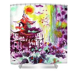 Shower Curtain featuring the painting Pagoda by Zaira Dzhaubaeva
