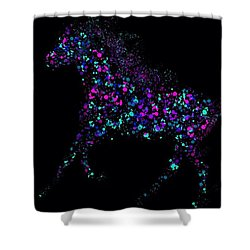 Shower Curtain featuring the painting Paint Splattered Pony by Nick Gustafson