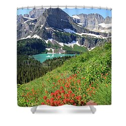 Paintbrush Above Grinnell Lake Shower Curtain