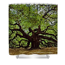 Painted Angle Tree Shower Curtain