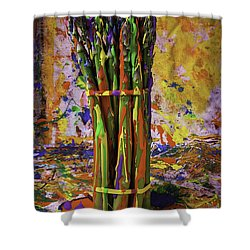 Painted Asparagus Shower Curtain by Garry Gay