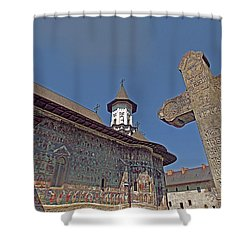 Painted Bucovina Monastery Shower Curtain by Dennis Cox WorldViews