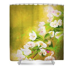 Painted Crabapple Blossoms In The Golden Evening Light Shower Curtain