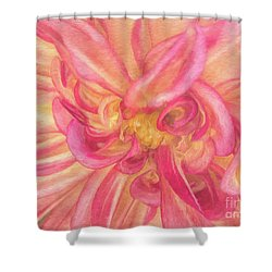 Painted Dahlia Shower Curtain by Kim Andelkovic