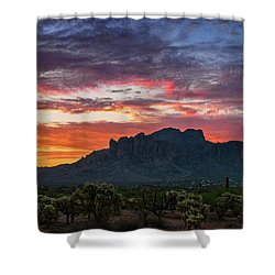 Shower Curtain featuring the photograph Painted Desert Skies Over The Supes  by Saija Lehtonen