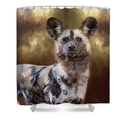 Shower Curtain featuring the digital art Painted Dog Portrait II by Nicole Wilde