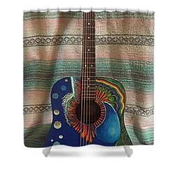 Shower Curtain featuring the mixed media Painted Guitar by Steve  Hester