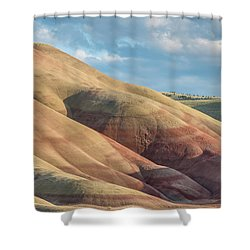 Painted Hill And Clouds Shower Curtain by Greg Nyquist