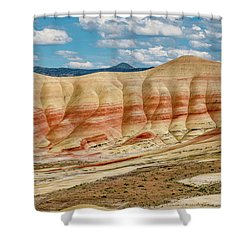 Shower Curtain featuring the photograph Painted Hills And Afternoon Sky by Greg Nyquist
