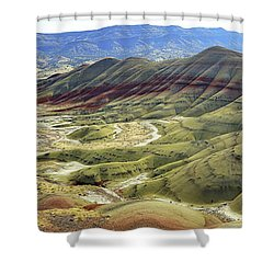 Painted Hills Panorama  Shower Curtain