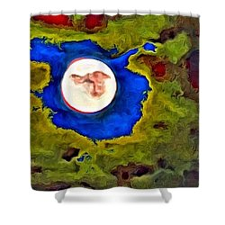 Painted Moon Shower Curtain