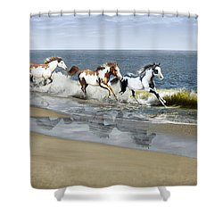 Painted Ocean Shower Curtain by Barbara Hymer