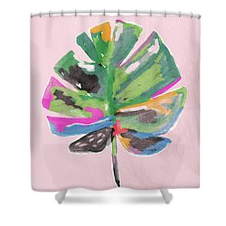 Shower Curtain featuring the mixed media Painted Palm Leaf 2- Art By Linda Woods by Linda Woods