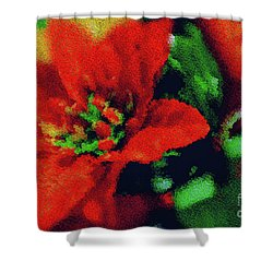 Painted Poinsettia Shower Curtain