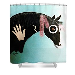 Painted Pony With Feather Shower Curtain