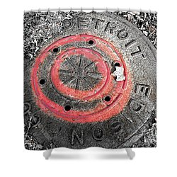 Painted Red Manhole Cover Shower Curtain by Sandra Church