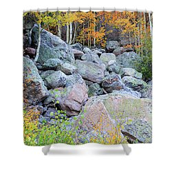 Painted Rocks Shower Curtain by David Chandler