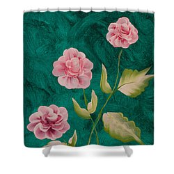 Painted Roses Shower Curtain by Donna Brown