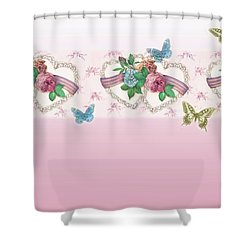 Painted Roses With Hearts Shower Curtain