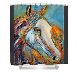 Shower Curtain featuring the painting Painted Horse Sensation by Jennifer Godshalk