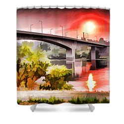 Painted Southway Bridge Shower Curtain