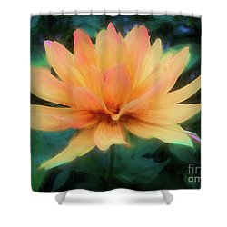 Painted Tangerine Dahlia Shower Curtain