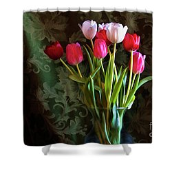 Painted Tulips Shower Curtain by Joan Bertucci