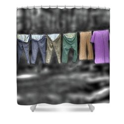 Painted Washline In Plymouth Nh Shower Curtain