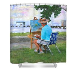 Painter On The Beach Shower Curtain by Mary Timman