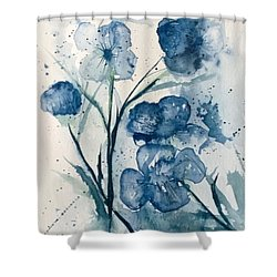 Painterly  Blues Shower Curtain