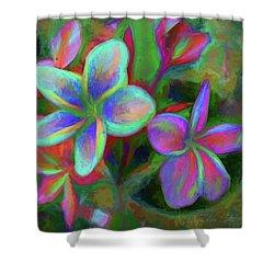 Painterly Frangipanis Shower Curtain