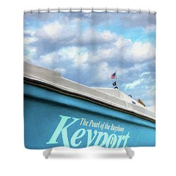 Shower Curtain featuring the photograph Painterly Keyport Sailboat by Gary Slawsky