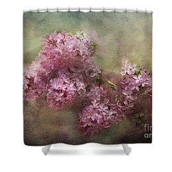 Shower Curtain featuring the photograph Painterly Lilac Blossom Photograph by Clare VanderVeen
