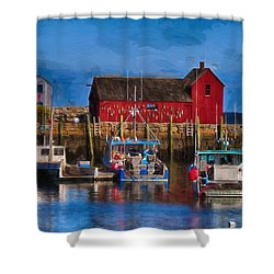 Painterly Motif #1 Rockport Shower Curtain by Tricia Marchlik