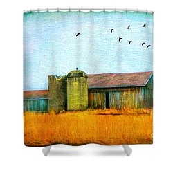 Shower Curtain featuring the photograph Painterly Neon Colored Rural Barn by Clare VanderVeen