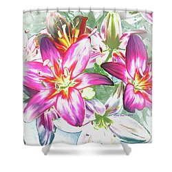 Painterly Pink Tiger Lilies Shower Curtain
