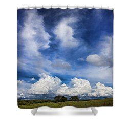 Painterly Sky Over Oklahoma Shower Curtain by Toni Hopper