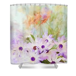 Painterly Spring Daisy Bouquet Shower Curtain