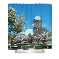 Painterly Taunton Green Spring Shower Curtain