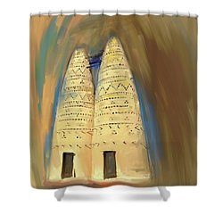 Painting 676 1 Pigeon Houses Shower Curtain