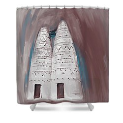 Painting 676 2 Traditional Pigeon Houses Shower Curtain
