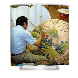Painting Chinese Oil-paper Umbrellas Shower Curtain by Yali Shi