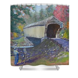 Painting Covered Bridge  Shower Curtain